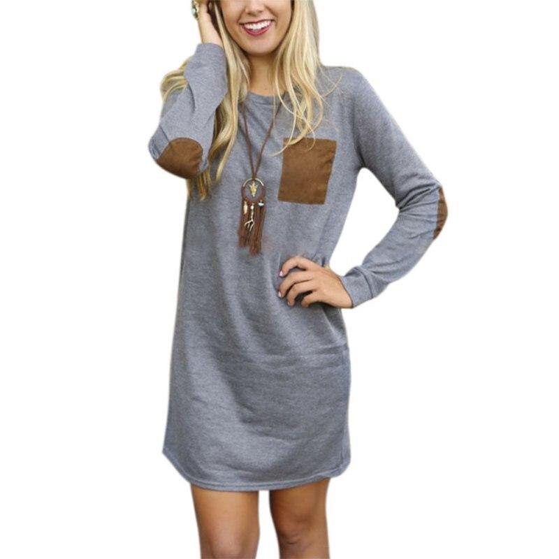 Women Long Sleeve Sweatshirt Dress Elbow Patch Cotton Tops Block T-Shirt Jumper Pullover Mini Dress H6