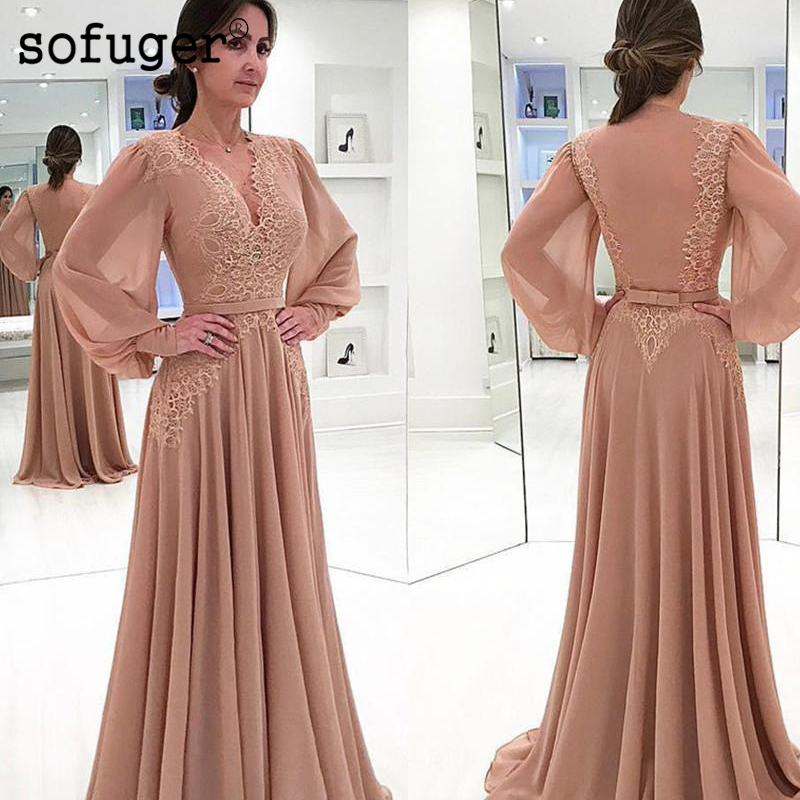 Elegant Muslim Evening Dresses 2019 A line Long Sleeves Chiffon Lace Sash Islamic Dubai Saudi Arabic