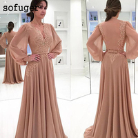 Elegant Muslim Evening Dresses 2019 A line Long Sleeves Chiffon Lace Sash Islamic Dubai Saudi Arabic Long Evening Gown Prom