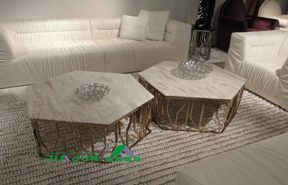 Combination Of Stainless Steel Rose Gold Hexagon Marble Glass Coffee - Hexagon marble coffee table