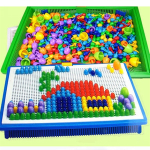 296 Pieces/Set Box-packed Grain Mushroom Nail Beads Intelligent 3D Puzzle Games Jigsaw Board for Children Kids Educational Toys(China)