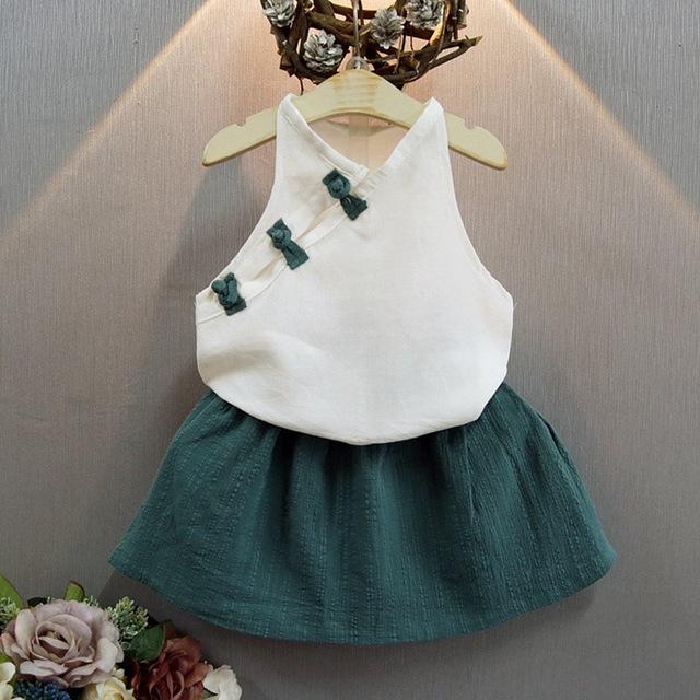 Miúdos das crianças Meninas Do Bebê Cheongsam Étnica Estilo T-shirt Tops + Plissado Saias Tutu 2 Peça Princesa Define Vestuário Ternos S3296