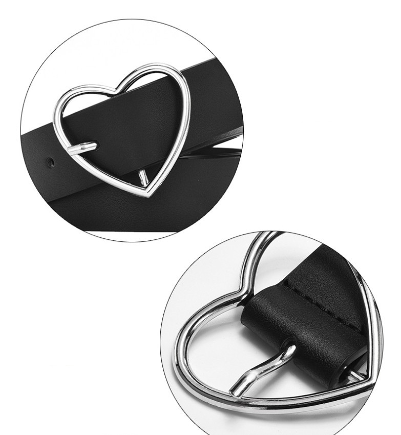 Fashion Solid Women's Belt with Heart-Shaped Buckle