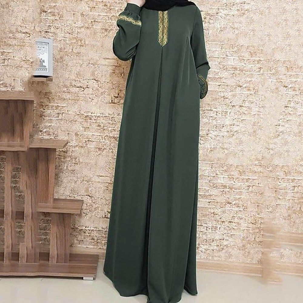 pipigo Men Relaxed Fit Islamic Thobe Embroidery Arab Muslim Long Sleeve Long Shirt