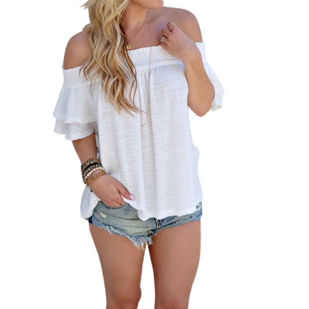 2017 Sexy Neck Ruffles Women shirt Tops Tees Solid Color Butterfly Sleeve White Off Shoulder Beach Style Casual Tops Shirt