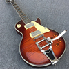 Bigsby Standard LP Electric Guitar Rosewood Fingerboard With Abalone Inlaid Classic Dark Honey Tiger Stripes Free