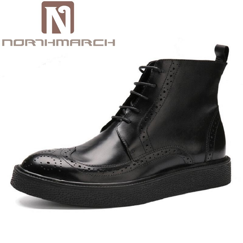 NORTHMARCH New British Style Men Boots Casual Shoes Male Work Thick Bottom Martin Boots Comfortable Lace Up Black Shoes Man fall trendboots in europe and america heavy bottomed martin boots british style high top shoes shoes boots sneakers
