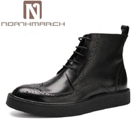 NORTHMARCH New British Style Men Boots Casual Shoes Male Work Thick Bottom Martin Boots Comfortable Lace Up Black Shoes Man