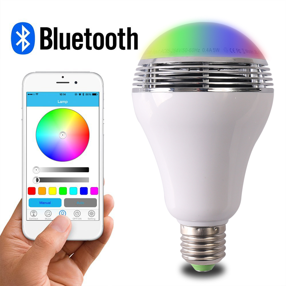 10pcs/lot Smart RGB Wireless Bluetooth Speaker Bulb Music Playing RGB Lamp with APP Control E27 LED Light Bulb For Home Party lightme smart e27 light bulb intelligent colorful led lamp bluetooth 3 0 speaker for home stage energy saving led light bulbs