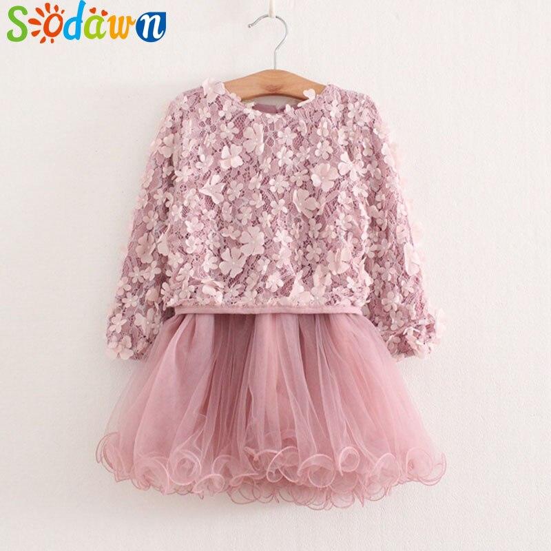 Sodawn Autumn New Children Clothing Girl Dress Four Leaf Flower Bright Piece Yarn Dress Baby Girls Dress Girls Clothes