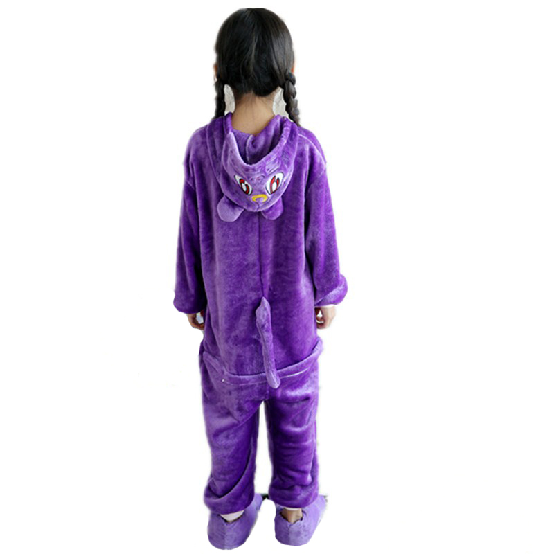 Adorable Purple Cat Kids Kigurumi Pajamas Baby One-Piece Flannel Onesie Cartoon Warm Animal Children Jumpsuit Winter Sleepwear (6)