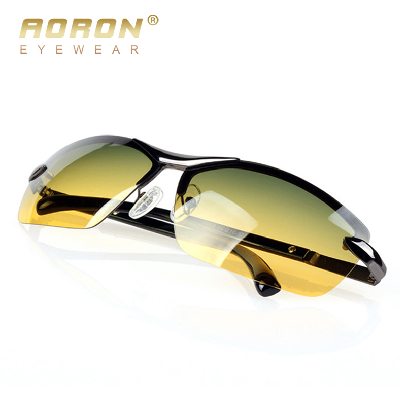 AORON Men's Polarized Sunglasses Day and Night Glasses Vison Multifunction Reduce Glare Goggles  LOGO Original Eyewear Box