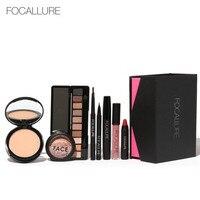 FOCALLURE 8Pcs Daily Use Cosmetics Powder Eye Makeup Eyebrow Pencil Volume Mascara Sexy Lipstick Blusher Makeup