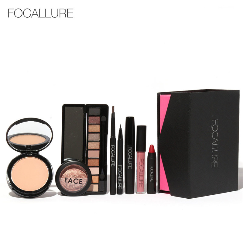 FOCALLURE 8Pcs Daily Use Cosmetics Powder Eye Makeup Eyebrow Pencil Volume Mascara Sexy Lipstick Blusher Makeup Set for Women helena rubinstein подарочный набор eye feel sexy подарочный набор eye feel sexy