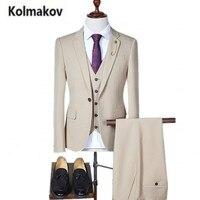 KOLMAKOV 2017 new High quality Men 's British solid color suit three-piece suits,fahsion single button wedding dress blazers men