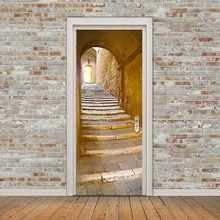 2Pcs/set Imitation Stairs 3D Door Stickers Self-adhesive DIY Mural Poster Wall Stickers PVC Waterproof Decals Home Decor