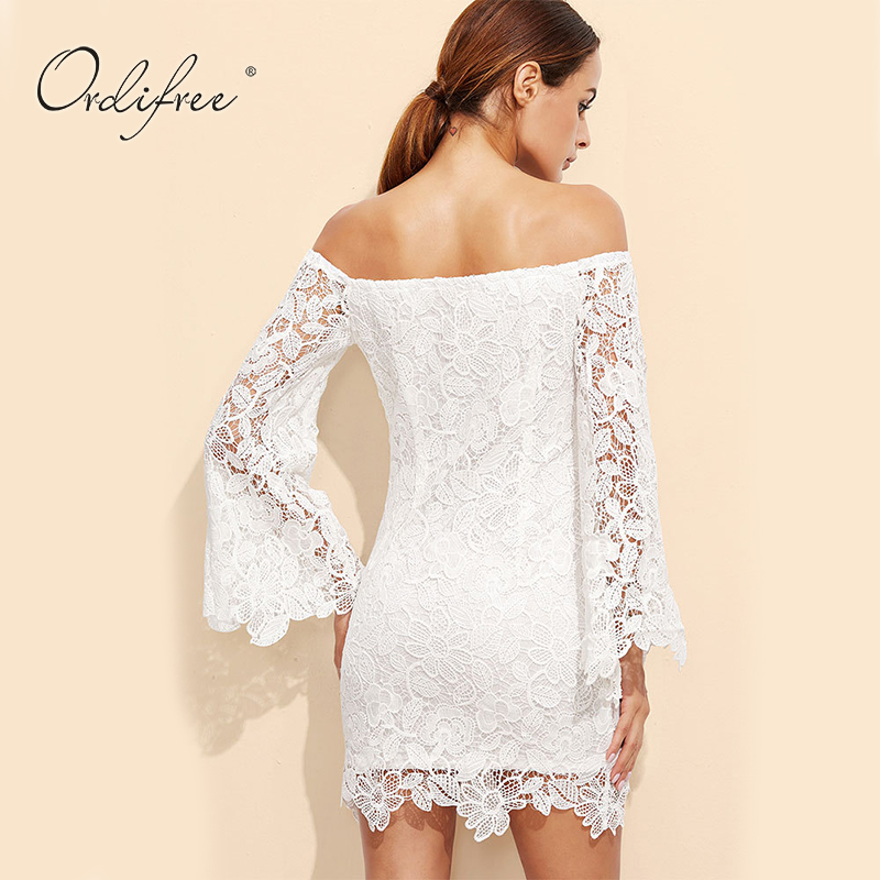 d51f7f628 Ordifree 2019 Summer Floral Embroidery Sexy Mini Dress Women Bodycon Off  Shoulder Long Sleeve Short White Lace Dress-in Dresses from Women s  Clothing on ...