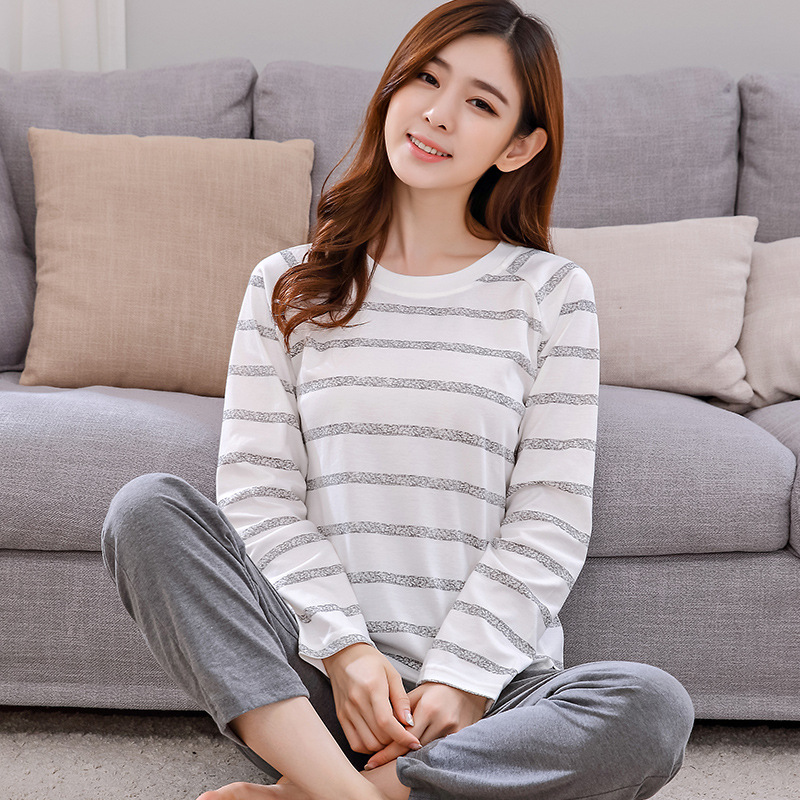 Womens   Pajamas     Sets   Cotton Long-Sleeve Pijamas Striped Cartoon Print 2018   Pajama     Set   Sleepwear Women Sexy Autumn Homewear L-3XL