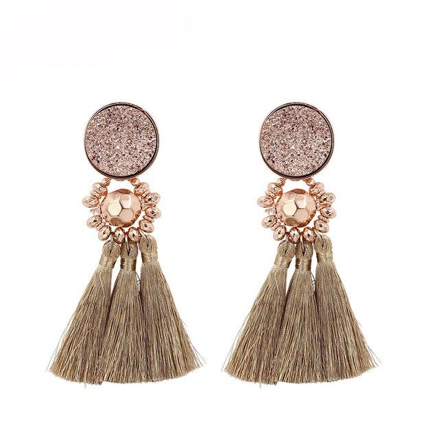 Nouveau Design Druzy Résine Perles Gland boucles d'oreilles pour femmes À La Main Boho Longue Frange Pompon Boucle D'oreille bijoux tendance En Gros