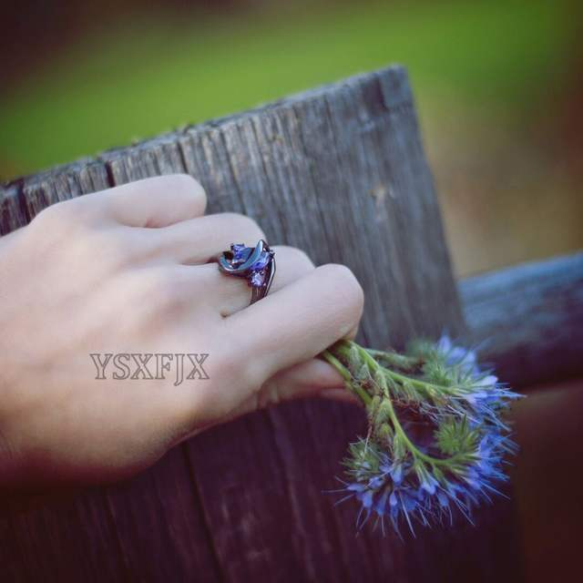 Which Hand Wedding Ring Female.Ysxfjx New Female Black Gold Plating Hand Wedding Exquisite Wedding Ring To Send Women S Unique Gift
