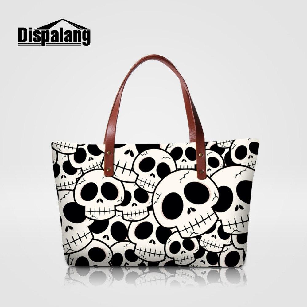 Dispalang Women Handbags Music Skull Print Large Shopping Bag Designer Female Crossbody Bags Big Casual Tote Shoulder Bag