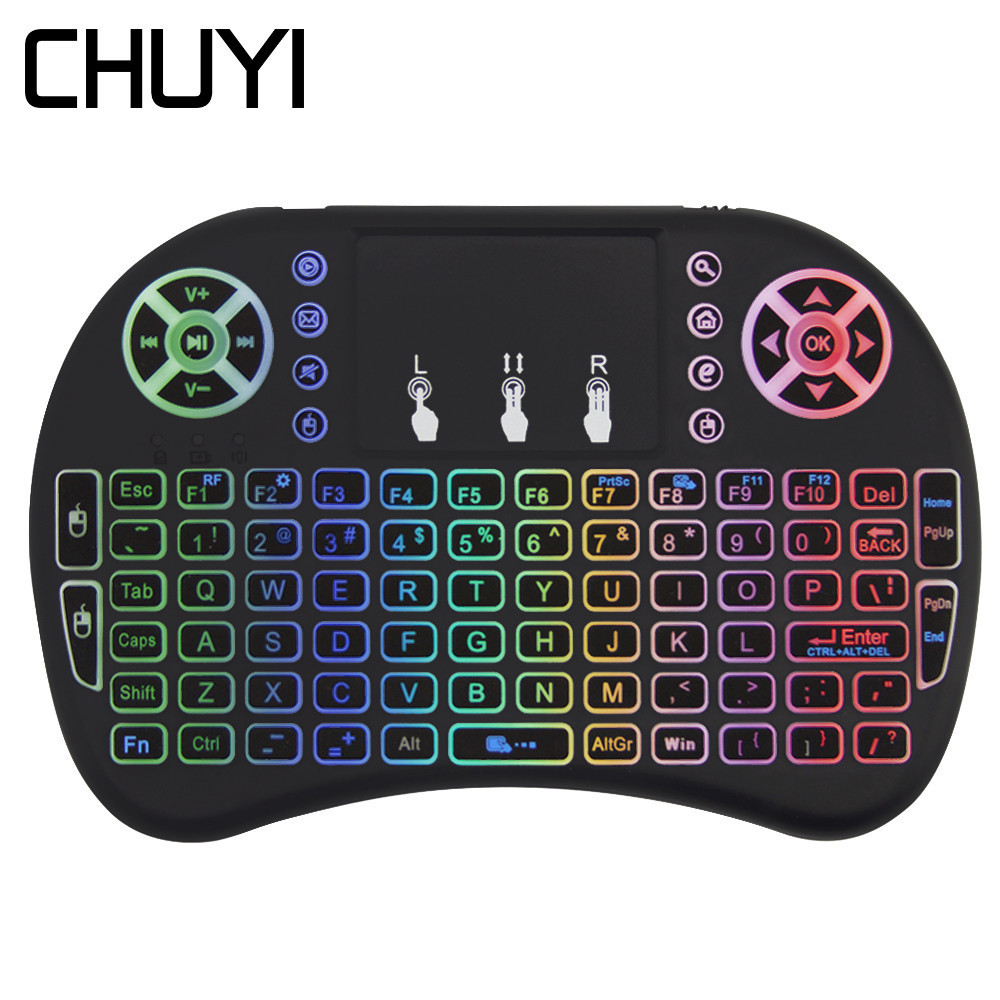 i8 Mini Wireless Keyboard Colorful Backlit Gaming Air Mouse Touchpad Gaming Keypad For Remote Control Android Smart TV Set Box(China)