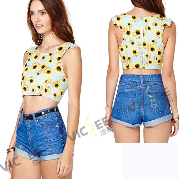 Sunflower digital printing back zipper fashion round neck slim super short chiffon vest shirt woman summer top tee - VICSEE International Apparel Ltd store