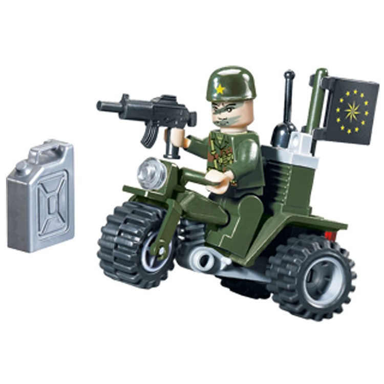 City Series Military Three Rounds Of Motorcycle Soldiers Building Blocks Sets Bricks Model Kids Toys