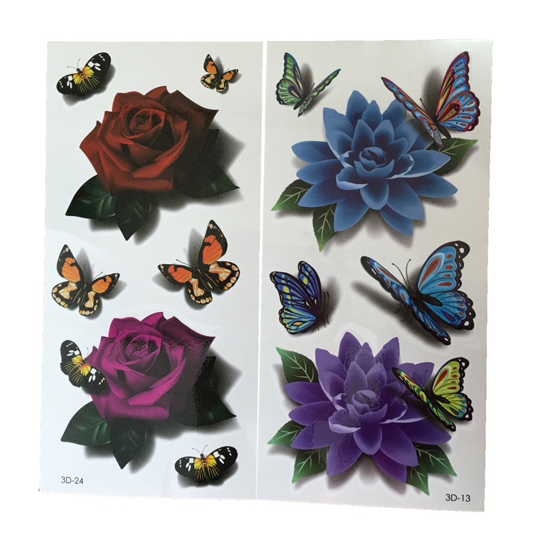 2PCS 3D Tattoo Body Art Chest Tattoo Sleeve Stickers Temporary Tattoos Removal Fake Rose Design For Body Leg Painting ...