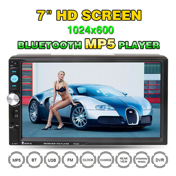 7 Inch New Double Din Auto MP5 Player Car Stereo Bluetooth Card Reader FM Radio Audio Car Video Media Player Support Rear Camera image
