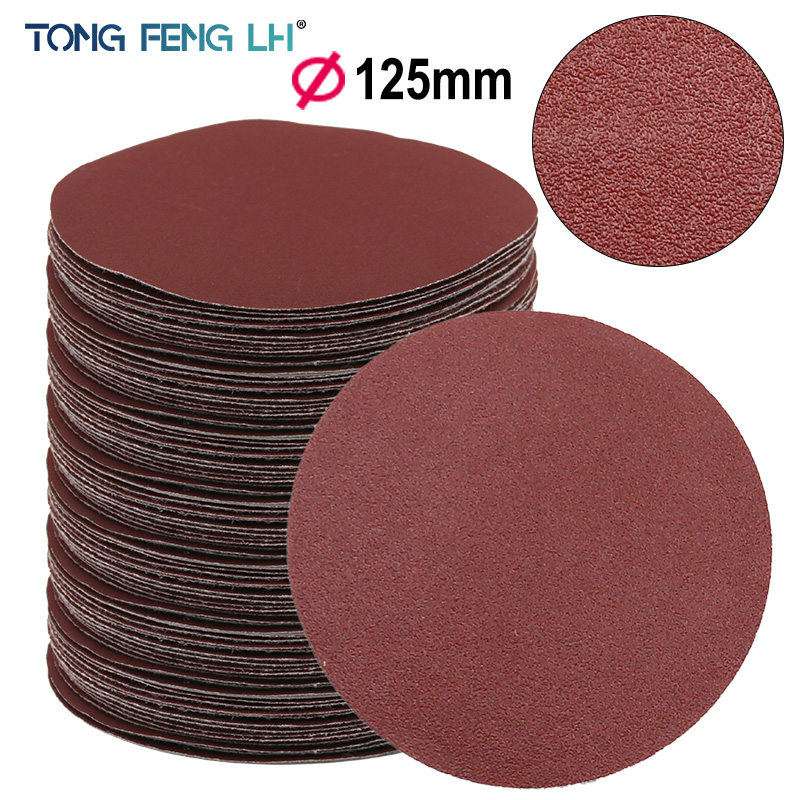Red Circular Polishing Discs 5pcs 10pcs 125mm With Grits Felt Wheel Polishing Sharpening Sand Paper Tool Accessories