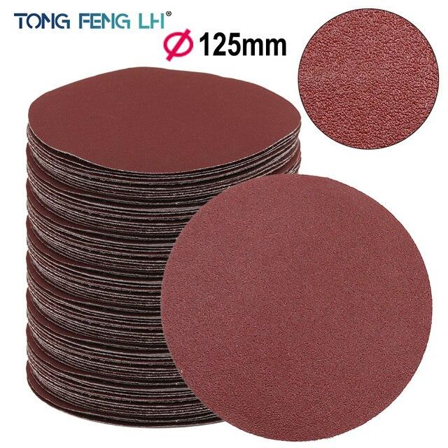 Red Circular Polishing Discs 5pcs 10pcs 125mm With Grits Felt Wheel Polishing Sharpening Sand Paper Tool Accessories