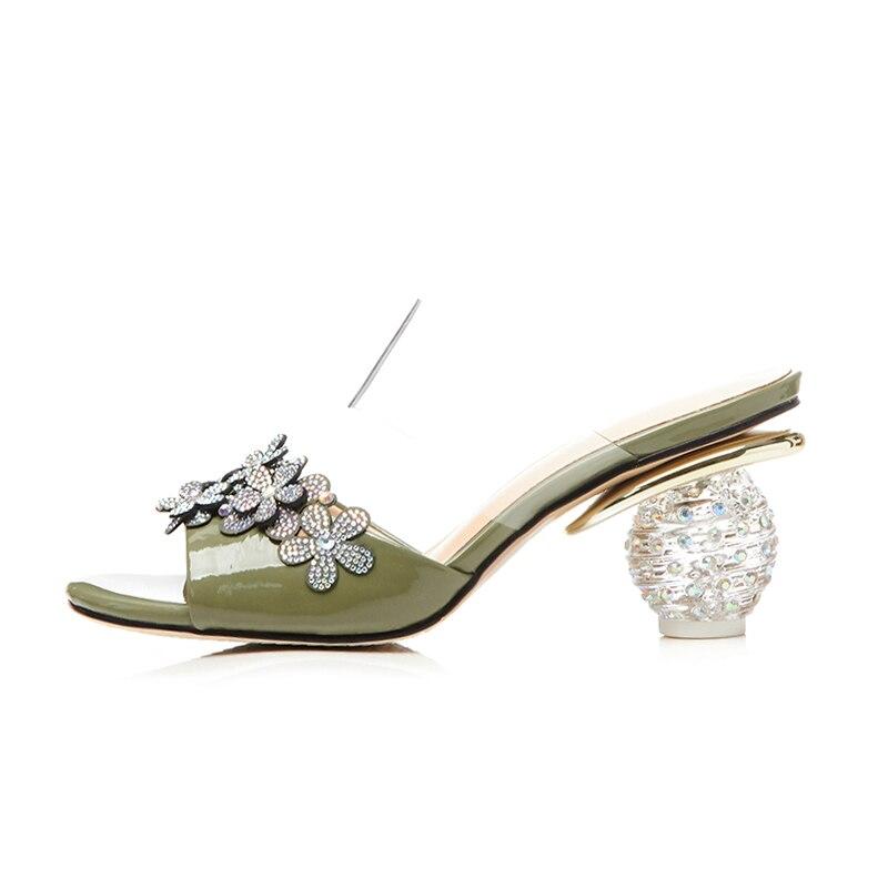 Nueva De Moda Mujer Militar Altos Gladiator Kcenid Rhinestone Vestido Verde Zapatos Partido Genuino Verano Cuero Flores beige Tacones Sandalias dxvHxYnq5