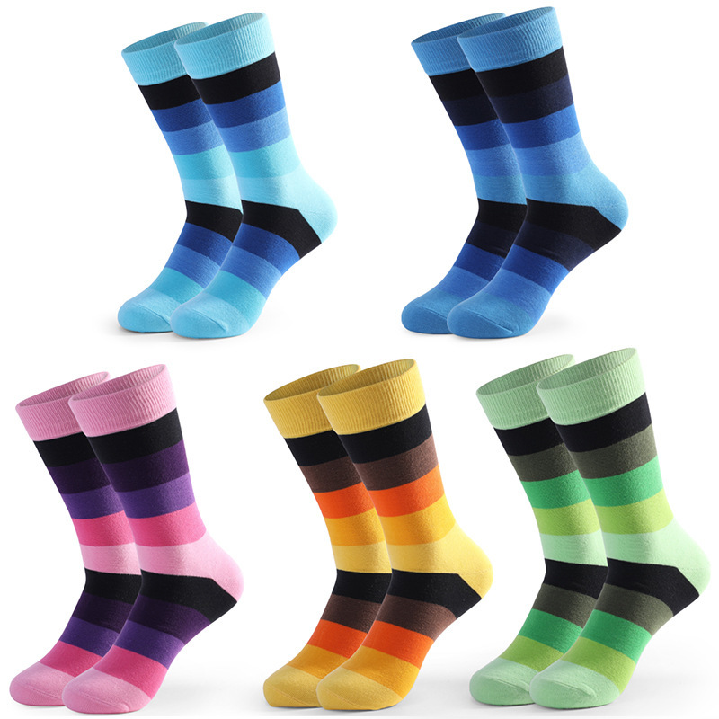 PEONFLY Fashion Brand Men Socks Novelty British Style Colorful Striped Streetwear Designer Happy Socks Funny With Gift Box
