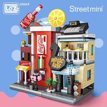 Loz 미니 벽돌 건축 미니 거리 모델 케이크 상점 상점 건물 조립 장난감 도시 광장 블록 세트 어린이 선물 서점