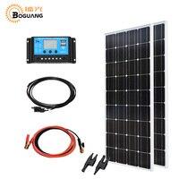 Boguang 200 солнечной Системы комплект 2*100 Вт Панели солнечные Монокристаллический Модуль эффективных ячейки 12 В/24 В/20A кабеля контроллера MC4 ада