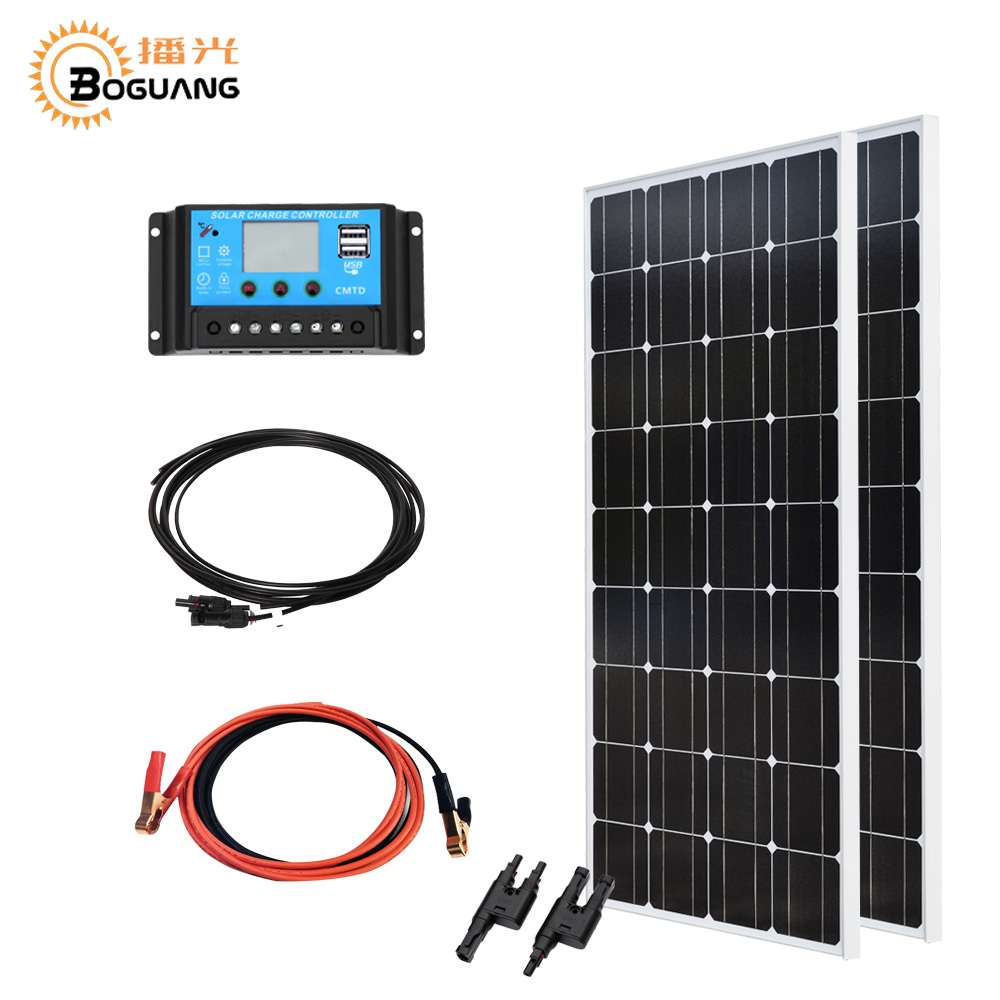 Boguang 200 solar system kit 2*100w solar panel Monocrystalline Silicon cell 12v/24v/20A controller cable MC4 adapter China RU