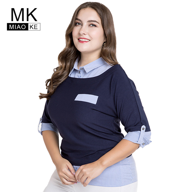 59ed064d3c8d2 Miaoke 2018 plus size womens tops and blouses clothes Fashion Five-point  sleeve fake two pieces Large size Tops 4xl 5xl 6xl