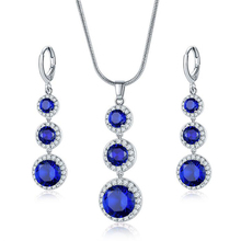 Stylish Blue Jewelry Sets Zircon Water Drop Shaped  Necklace And Drop Earrings For Women Fashionable Jewelry Sets Jewelry Gifts pair of stylish faux gem bead water drop earrings for women
