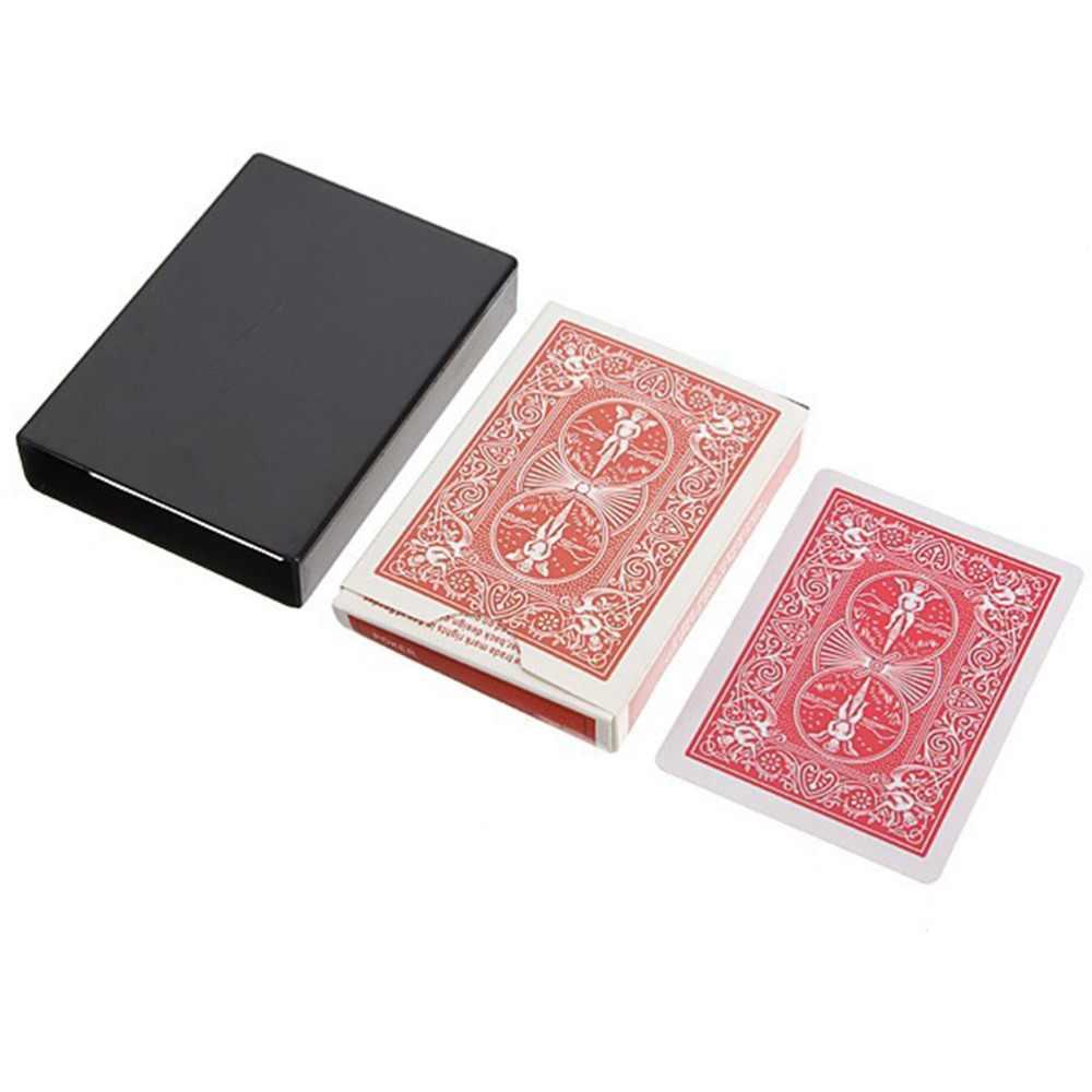 2018 חדש 1pc מדהים סיפון הנעלם היעלמות קסם כרטיס מקרה מקרוב קסם טריק תיבת כיף פוקר היעלמות מקרה