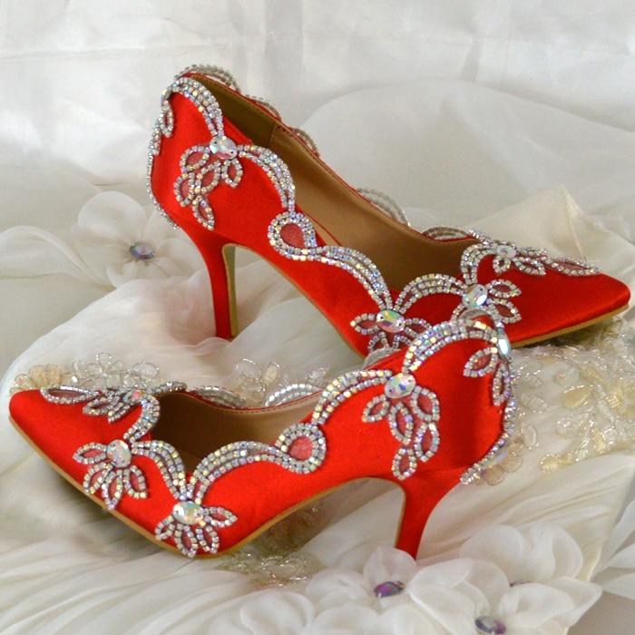 ФОТО Women Pumps Colorful Rhinestone Wedding Shoes Thin Heels High Heels Red Shoes Woman Married Bridal Shoes Single Women's Shoes