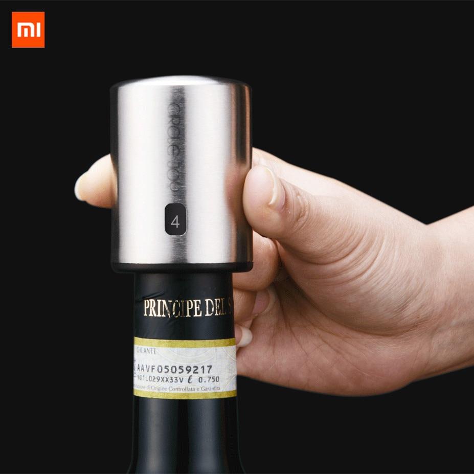 Original XIAOMI Mijia Circle Joy Smart Wine Stopper Stainless Steel Vacuum Memory Wine Stopper Electric Stopper Wine Corks Black