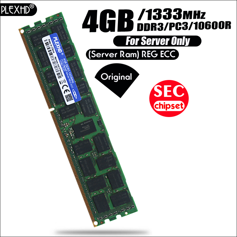 PLEXHD 4 gb PC3 10600R DDR3 1333 mhz 4g 2Rx4 REG ECC Haute Qualité serveur mémoire RAM 100% normale travail serveur SEC chipset