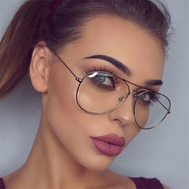 679ff11d66d Clear Aviation Glasses Women Transparent Metal Eyeglasses Frames Men Clear  Lens Retro Spectacles Frame Optical Myopia Glasses