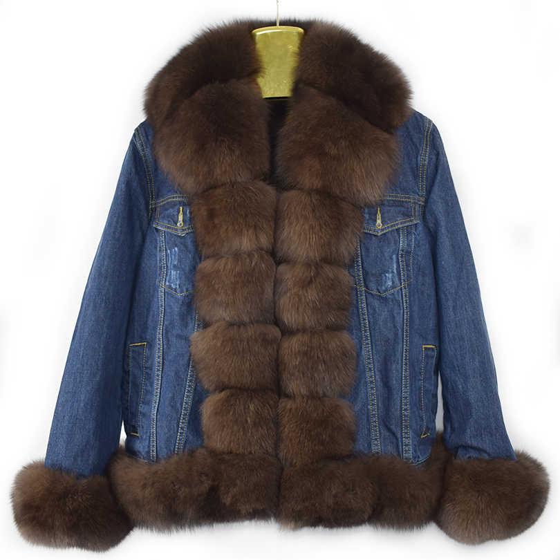 2019 新リアルフォックス毛皮フェイクファーのライニングなっ厚いデニムジャケットジャケットカウボーイ春ストリート女性ナチュラル毛皮のジーンズ