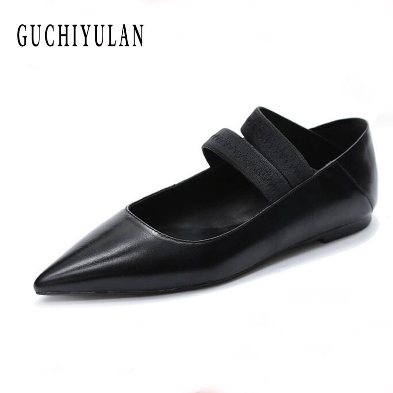 Women Flats Shoes Leather Platform 1cm Heels Shoes black female loafers Spring Women Pointed Toe moccasins Leather casual Shoes cresfimix women cute spring summer slip on flat shoes with pearl female casual street flats lady fashion pointed toe shoes