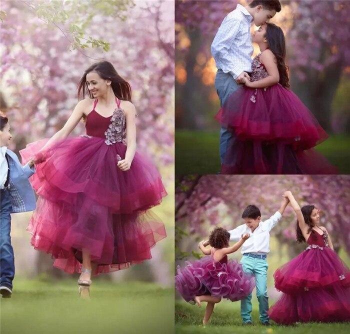 87109f78d570 Burgundy Puffy Organza 2019 Flower Girl Dresses For Weddings Girls ...
