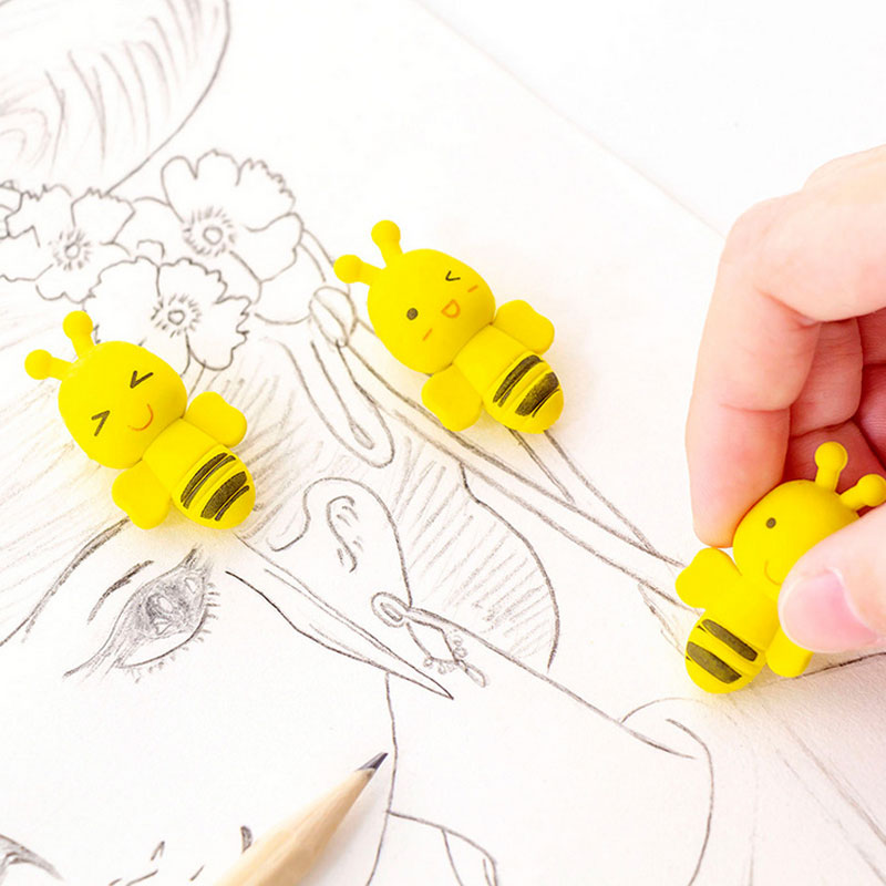 2pcs/Lot Little Bee Pencil Rubber Erasers Kawaii School Office Erasers Supplies Papelaria Child Learning Correcting Stationery