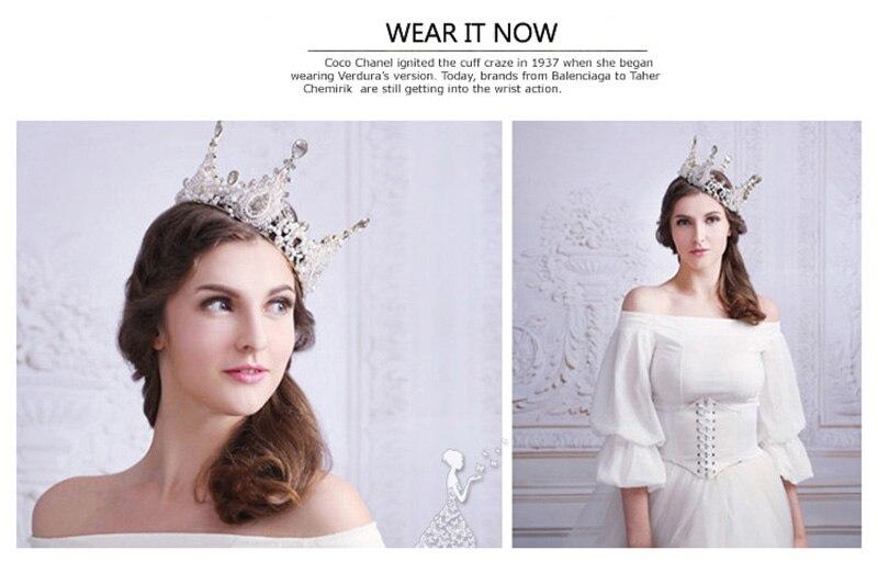 recogido que buen look completamente elegante Round Baroque Big Crystal Crowns Wedding Bride Hair Headdress Bridal  Decoration on the Head Piece Tiara Jewelry Princess Crown
