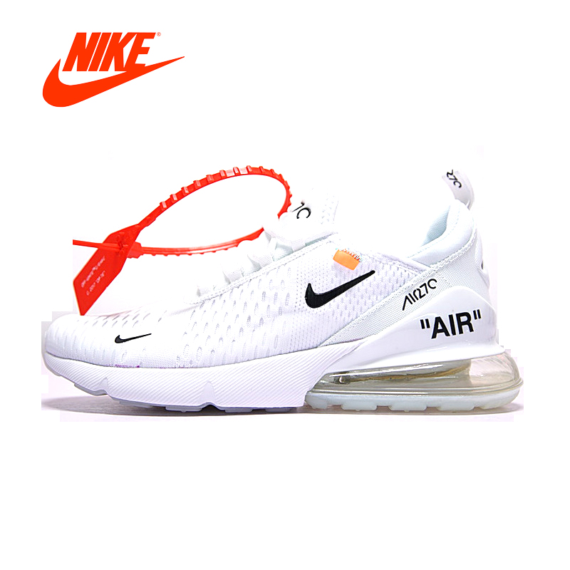Original New Arrival Official Nike Air Max Breathable Cushion Sports Shoes White Black Men